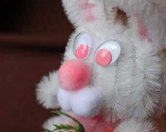 Chenille Bunny - White with Pink Belly