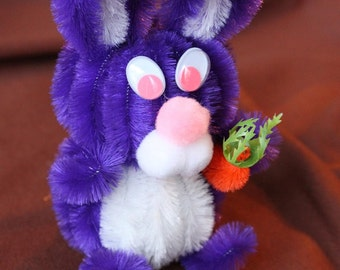 Chenille Bunny - Royal Purple with White Belly