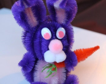Chenille Bunny - Royal Purple with Pink Belly