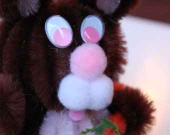 Chenille Bunny - Dark Brown with Pink Belly