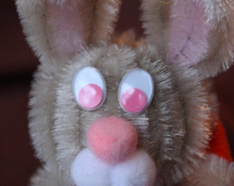 Chenille Bunny - Beige with Pink Belly