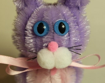 Chenille Cat -  Lavender with Pink Belly