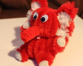 Chenille Elephant - Red