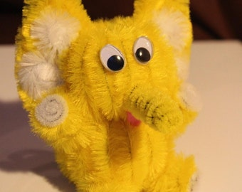 Chenille Elephant - Yellow