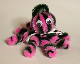 Chenille Octopus - Dark Green and Hot Pink