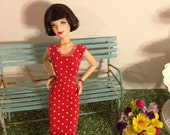 Up-cycled stretchy mini dress for Barbie handmade, cute modest Barbie clothes