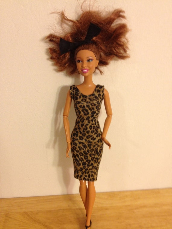 Barbie clothes limited Up-cycled gorgeous stretchy mini dress modest Barbie clothes