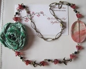 Spring Willow Vintage Inspired Necklace with Silk Flower Rose, Cherry Quartz and Czech Glass Beads
