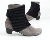 Handmade spats - pinstriped velvet