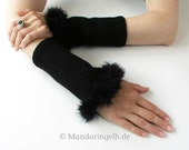 Black Arm Warmers Trimmed In Marabou