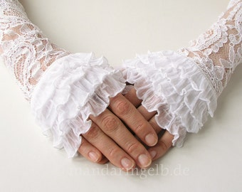 Wedding Gloves /Bridal Accessory with Lace and Flounce
