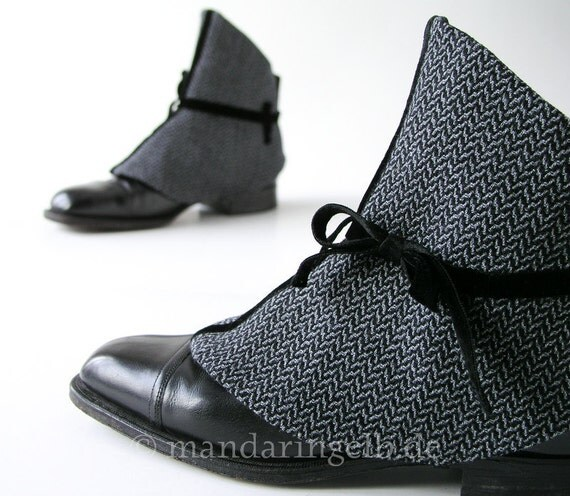 Handmade Spats In Chevron, Decorated With A Velvet Ribbon