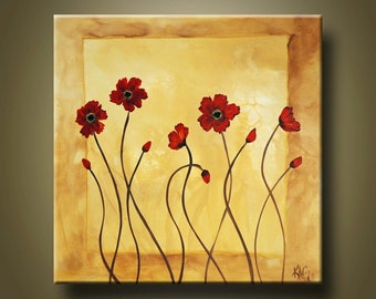 Abstract Poppy Original Fine Art By KAG 30 x 30 inches