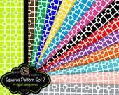 Square Pattern Digital Paper, Digital Pattern Paper, Patterned Paper, Invitation Paper, Party Paper, Instant Download