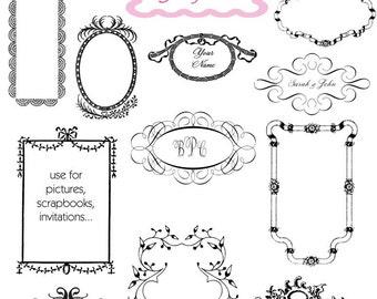 Digital Frame Clip Art Frame Wedding Clipart Digital Scrapbook Frame Clipart Printable Frame - Instant Download
