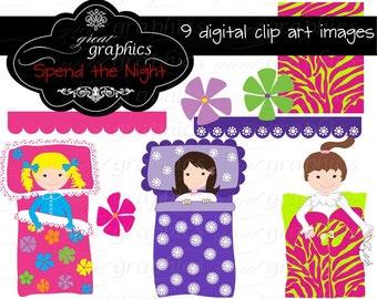 Slumber Party Clipart Girls Slumber Party Clip Art Slumber Party Clip Art Sleepover Party Digital Clip Art Instant Download