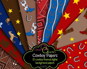 Cowboy Paper Cowboy Party Paper Cowboy Digital Paper Cowboy Printable Western Party Paper - Instant Download