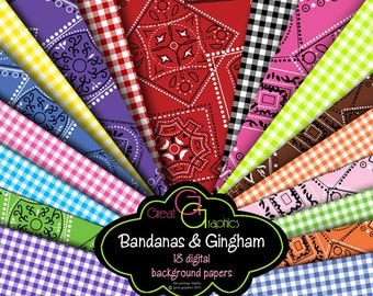 Bandana Digital Paper Bandana Pattern Bandana Paper Gingham Digital Paper Bandana Print Digital Paper - Instant Download