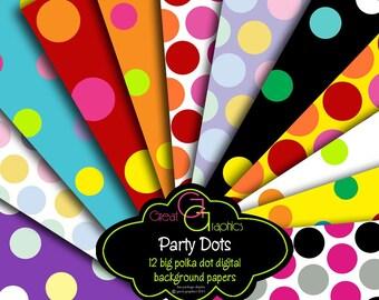 Polka Dot Paper Party Printable Paper Polka Dot Printables Digital Paper Invitation Printable Paper Polka Dots - Instant Download