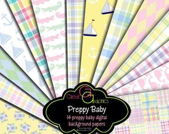 Preppy Baby Digital Paper Preppy Baby Boy Preppy Baby Girl Preppy Paper Preppy Prints Instant Download