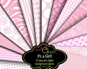 Pink Paper Digital Paper Baby Girl Printable Baby Shower Paper Pastel Pink Digital Paper Party Paper - Instant Download