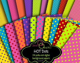 Digital Polka Dot Paper Printable Polka Dots Polka Dot Paper Polka Dot Backgrounds Digital Paper -  Instant Download
