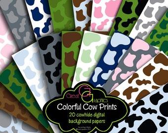 Cowhide Cow Print Paper Animal Print Paper Digital Paper Cowboy Cowgirl Printable Invitation Paper Cowboy Paper - Instant Download