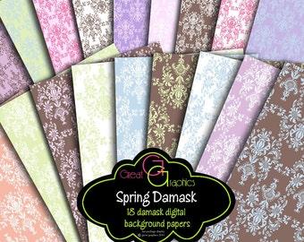 Digital Damask Paper Damask Printable Paper Damask Pattern Damask Digital Wedding Paper - Instant Download
