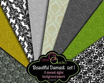 Damask Digital Backgrounds -set 1, damask printable backgrounds, damask digital paper, damask pattern paper