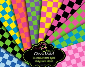 Checkerboard Digital Paper Checkered Paper Printable Party Paper Birthday Party Paper Invitation Paper - Instant Download