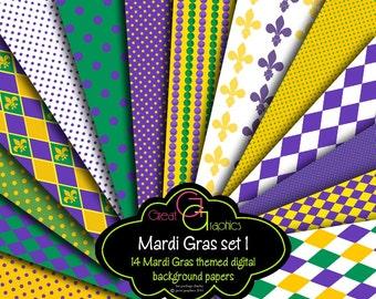 Mardi Gras Paper, Mardi Gras Digital Paper, Fleur de Lis Pattern, Mardi Gras Digital, Digital Paper, Instant Download