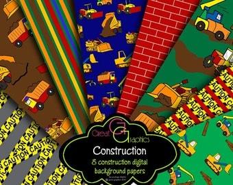 Construction Paper Construction Party Digital Paper Printable Kids Construction Party Background Truck - Instant Download