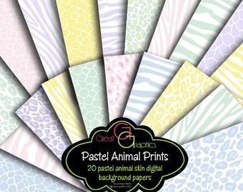 Animal Print Paper Pastel Baby Shower Paper Digital Paper Printable Invitation Paper Pastel Animal Print Zebra Leopard - Instant Download