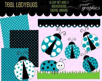 Lady Bug Clip Art Teal Ladybug Digital Clip Art Digital Paper Ladybug Clipart Printable Ladybug Party Paper - Instant Download