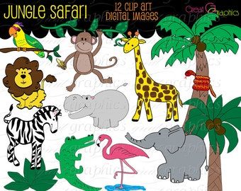 Jungle Animal Clip Art Digital Clipart Birthday Party Clipart Monkey Zebra Giraffe Elephant Safari Printable Clip Art - Instant Download