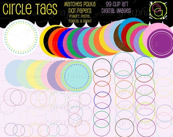 Circle Frame Digital Clipart Frame Clip Art Printable Dot Circle Clipart Digital Frame Scrapbook Clip Art - Instant Download