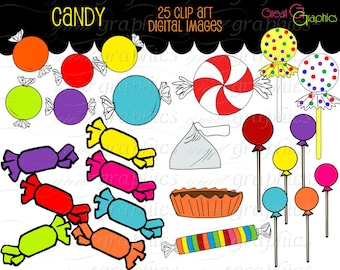 Candy Clipart Candy Clip Art Candy Digital Invitation Clip Art Kids Party Printables Lollipop Clipart Digital Candy - Instant Download