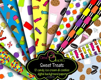Ice Cream Party Paper Cookies and Milk Party Digital Paper Candy Party Paper Milk and Cookie Party Printable Paper - Instant Download