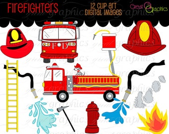 Firefighter Clipart Fireman Firefighter Clip Art Fire Engine Clip Art Digital Clip Art Birthday Party Clip Art Instant Download