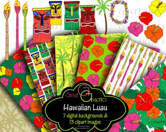 Hawaiian Luau Digital Paper Luau Party Clip Art Hawaii Luau Clipart Hawaiian Party Digital Paper Printable - Instant Download