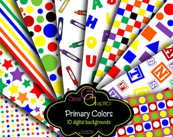Kids Printable Paper Primary Color Back to School Printable Party Paper Alphabet Printable Digital Background Paper - Instant Download