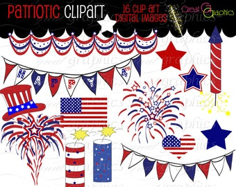 4th of July Digital Clip Art July 4th Clipart Printable Patriotic Digital Party Clip Art Red White and Blue - Instant Download