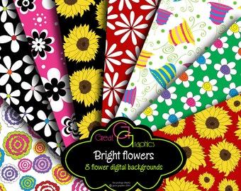 Flower Digital Paper Flower Paper Printable Digital Flower Background Digital Floral Paper Instant Download