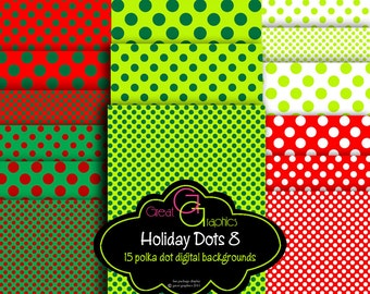 Polka Dot Holiday backgrounds, set 8, Christmas polka dot digital backgrounds, printable polka dot backgrounds for Christmas set of 15