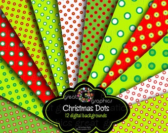 Christmas Digital Printable Paper Invitation Paper Digital Paper Christmas Red and Green Polka Dot Paper - Instant Download