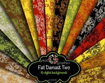 Damask Digital Paper Printable Damask Paper Background Brown Damask Invitation Paper Instant Download