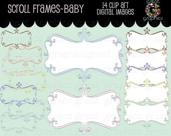 Swirly Frame Calligraphy Digital Frame Clipart Digital Clip Art Frame Digital Scrapbook Frame Instant Download