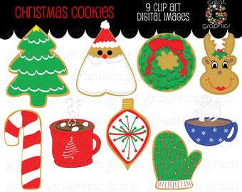 Christmas Cookie Clip Art Digital Clipart Printable Christmas Party Cookie Party Clipart Hot Chocolate - Instant Download