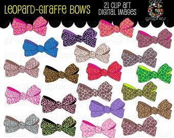 Digital Clip Art Bow Clipart Leopard Print Bow Printable Clipart Digital Bow Clip Art Instant Download