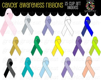 Cancer Ribbon Clip Art Ribbon Clip Art Breast Cancer Ribbon Cancer Awareness Ribbon Clipart Digital Clip Art - Instant Download